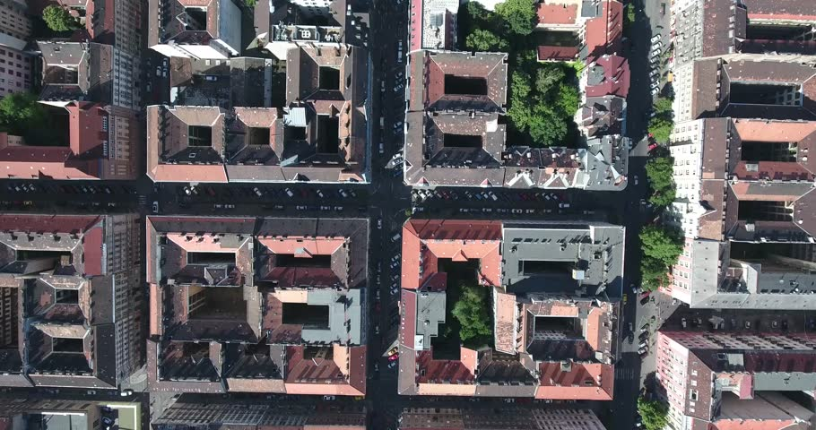 Aerial footage from a drone shows blocks of houses in Erzsebetvaros or Elizabeth town, the 7th district of Budapest, Hungary.