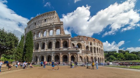 The Colosseum or Coliseum timelapse hyperlapse, also known as the Flavian Amphitheatre in Rome, Italy