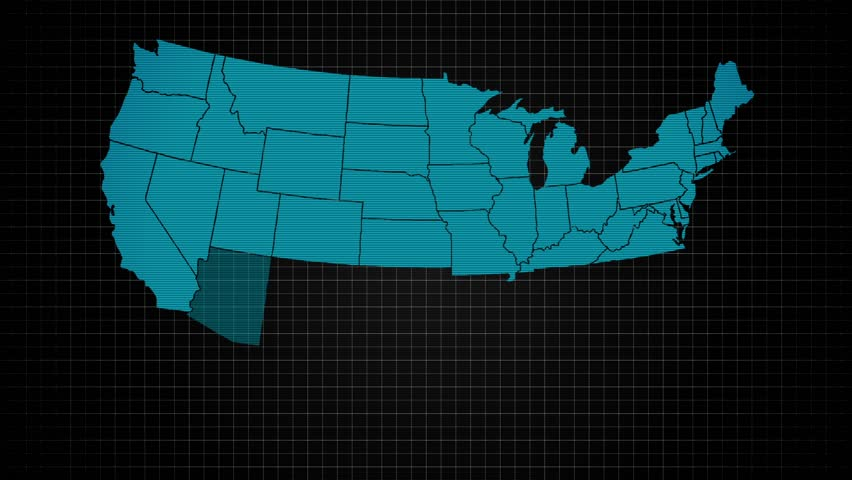 USA All States Showing Up with Initials on a Digital Monitor
