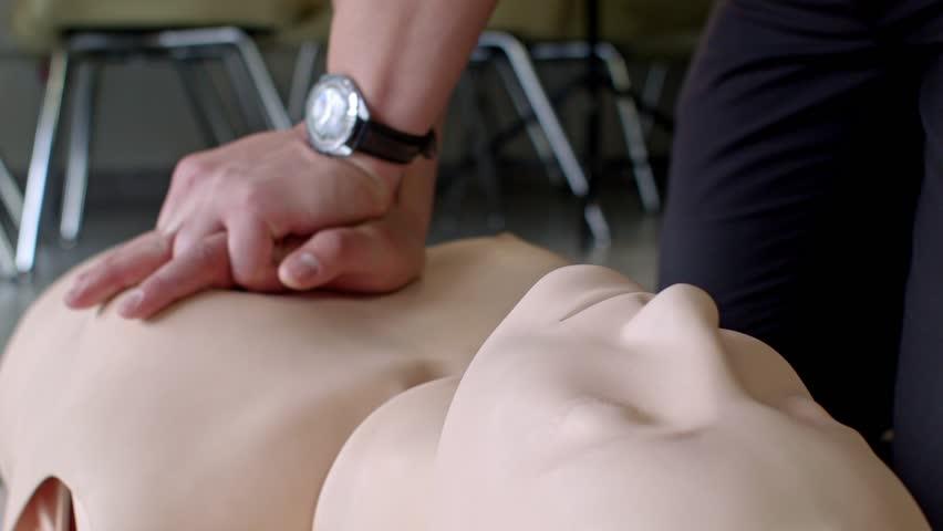 First aid cardiopulmonary resuscitation training on adult manikin