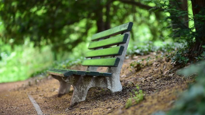 Video Bench Part - 31: Old Green Wooden Bench In The Garden. - HD Stock Video Clip