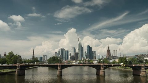 Timelapse - Big clouds over the cityscape of Frankfurt, Hessen, Germany