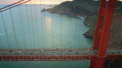 Aerial view of the Golden Gate Bridge. San Francisco, California. United States. Traffic. Shot from helicopter.