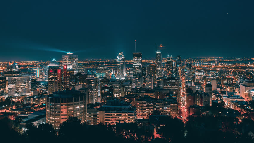 The Skyline of Montreal at Night. 4K Timelapse sequence of the major city of Quebec, Canada.
