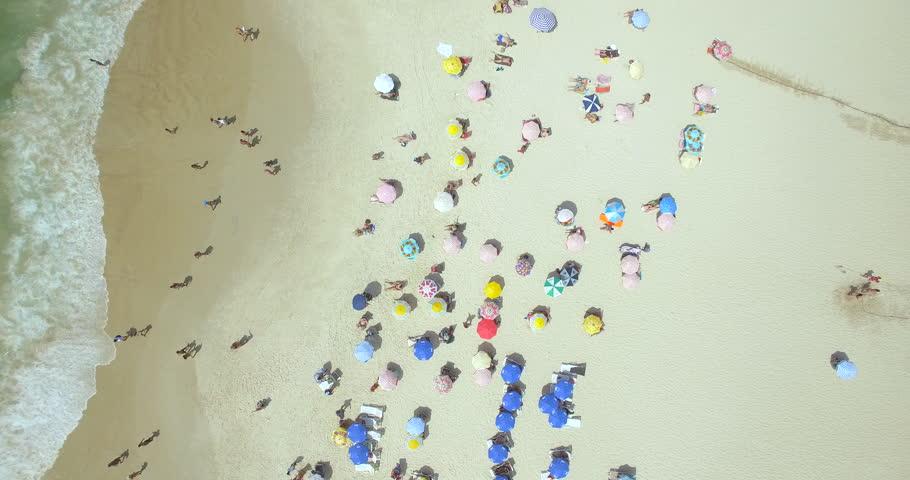 Aerial view Copacabana Beach Rio De Janeiro, Brazil (February 01, 2016 - Rio De Janeiro, Brazil)