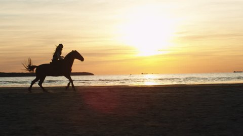 Silhouette of Woman Riding Horse Along Beach Shoreline. Shot on RED Cinema Camera in 4K (UHD).