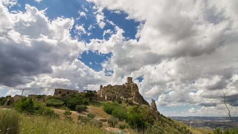 Timelapse of the ghost city of Craco, Matera, Basilicata, Italy