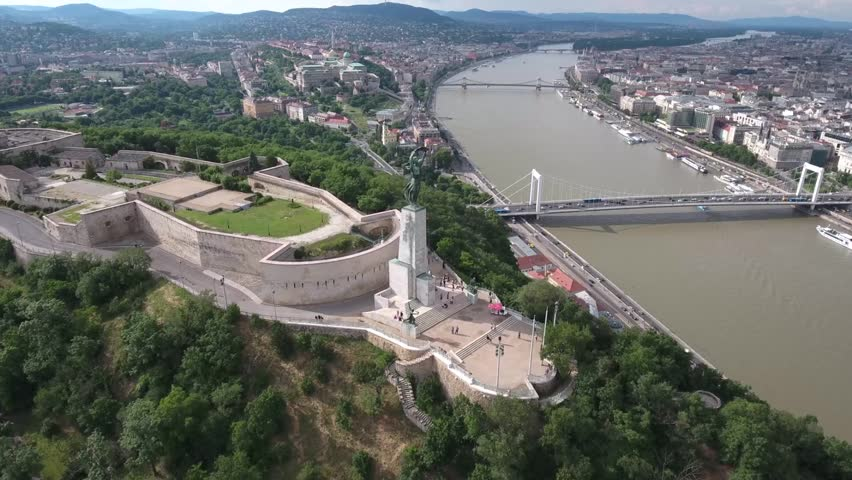 Aerial video shows the historical Citadella overlooking Budapest - Full HD drone footage - HD stock