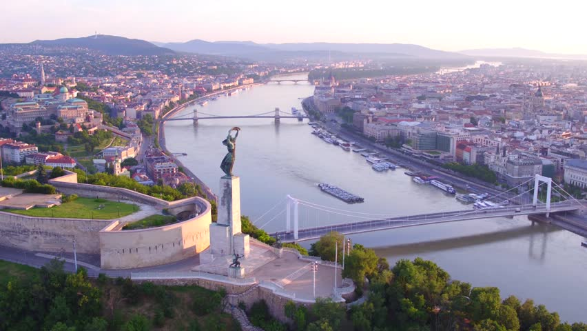 Aerial video shows the Citadella in Budapest, Hungary - Full HD drone footage - HD