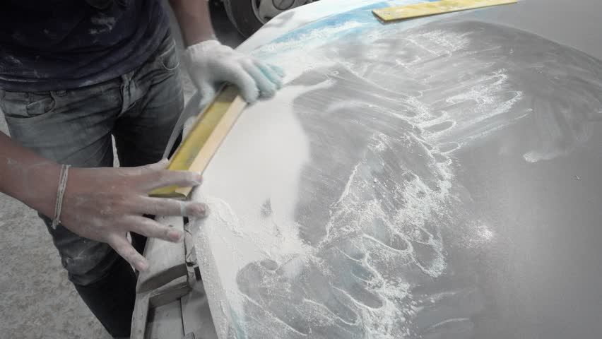 4K Garage Car body work car auto car repair car paint after the accident during the spraying
