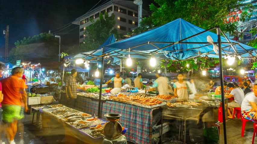 PHUKET, THAILAND - JANUARY 2016: island patong town fish food market panorama 4k time hyper lapse circa january 2016 phuket, thailand.