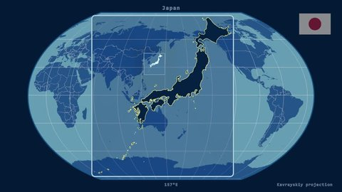 Zoomed-in view of a Japan outline with perspective lines against a global admin map in the Kavrayskiy VII projection