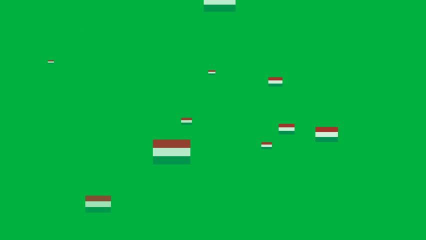 Isolated moving the Hungary flag particles on green background. Flag of the Hungary. Hungary national flags.