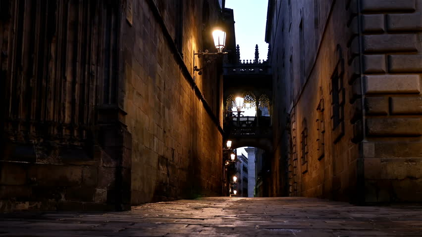 Street in the Gothic quarter of Barcelona at night, dolly