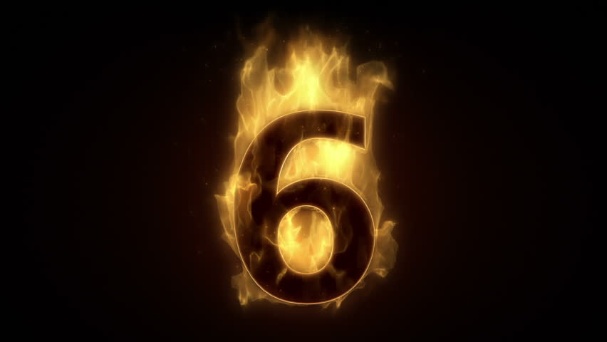 6 - Six Hot Burning Number On Black Background Stock Footage Video ...