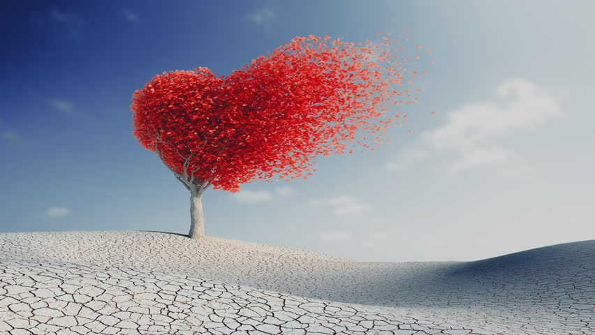 Leaves disperse from heart shaped tree, with alpha. 3d animation 4k | Shutterstock HD Video #17334661