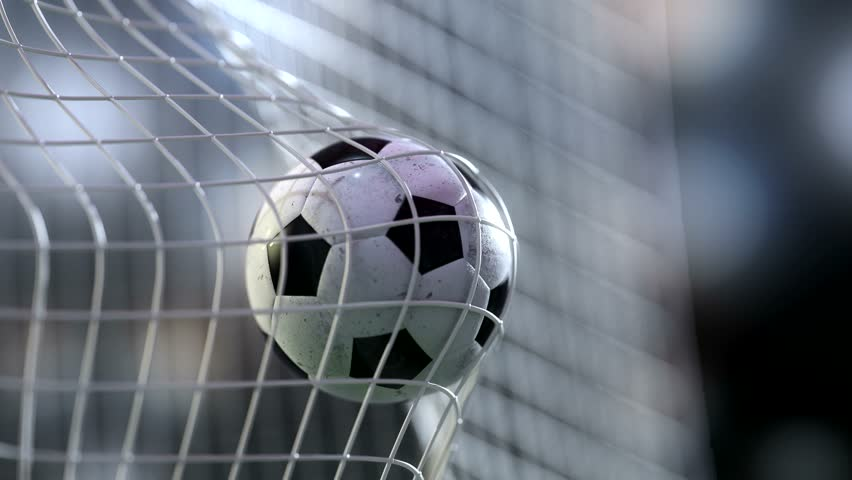 soccer ball in goal net with slowmotion. Slowmotion football ball in the net. #17339812