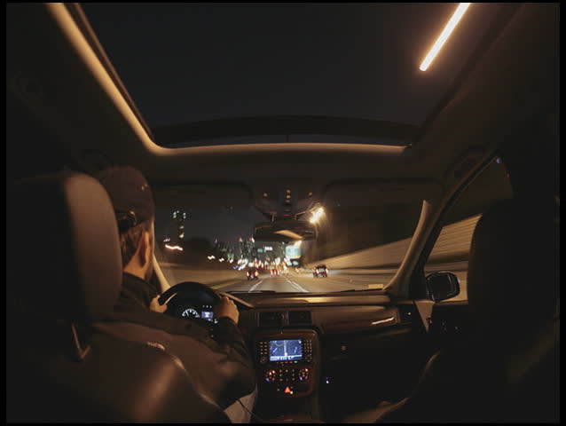 timelapse from interior of car driving on city highway SD