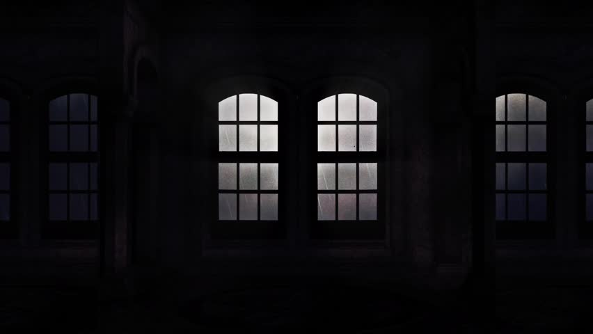 Windows of a Spooky Castle Showing a Lightning Storm