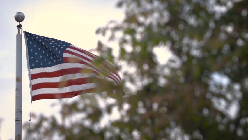 American Flags Blow In The Wind. Rack Focus. Shot On RED SCARLET ...