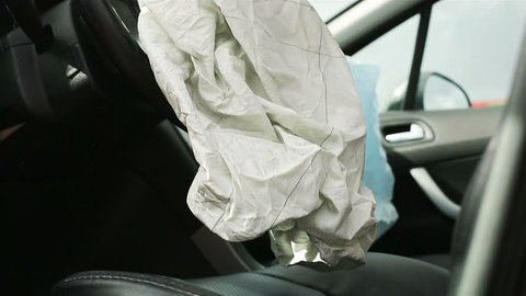 Car Crash air bag, blue, inscription airbag