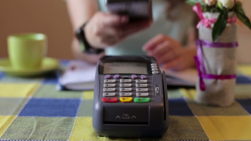 Using Credit Card Terminal with PIN in cafe | Shutterstock HD Video #17396392