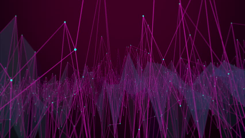 A series of animated connected lines amplify up and down in a mass of logical confusion against a dark purple background gradient.
