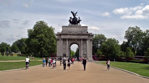 London - 19 June 2016: Wellington Arch West Facade with people walking around