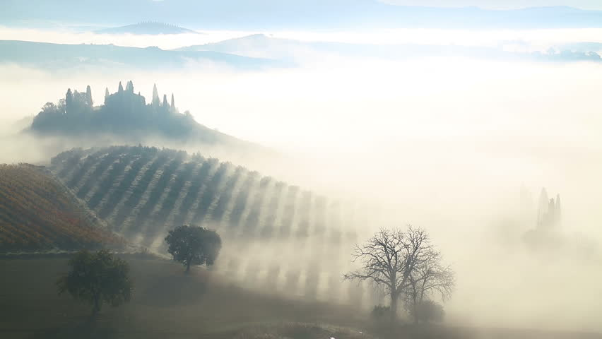 Italy. Tuscany. Early Sunny morning. Thick fog over fields, farmhouses and vineyards