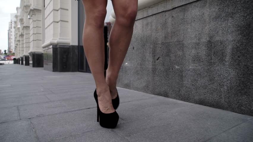 Sexy Legs Black High Heels Walking In City Urban Street - Red Epic Dragon 6K Stock -4623