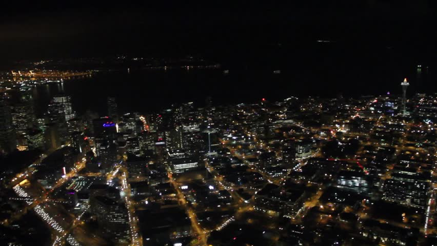 Downtown Seattle at Night - Aerial