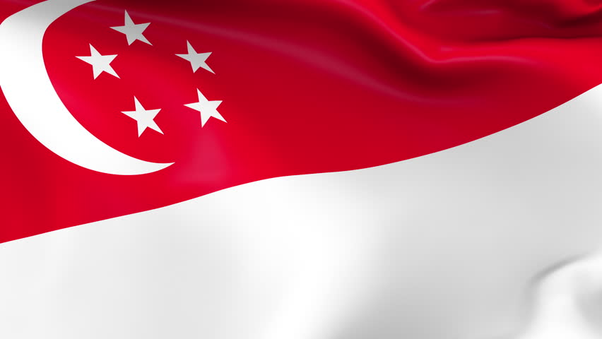 Photo realistic slow motion 4KHD flag of the Singapore waving in the wind. Seamless loop animation with highly detailed fabric texture in 4K resolution.