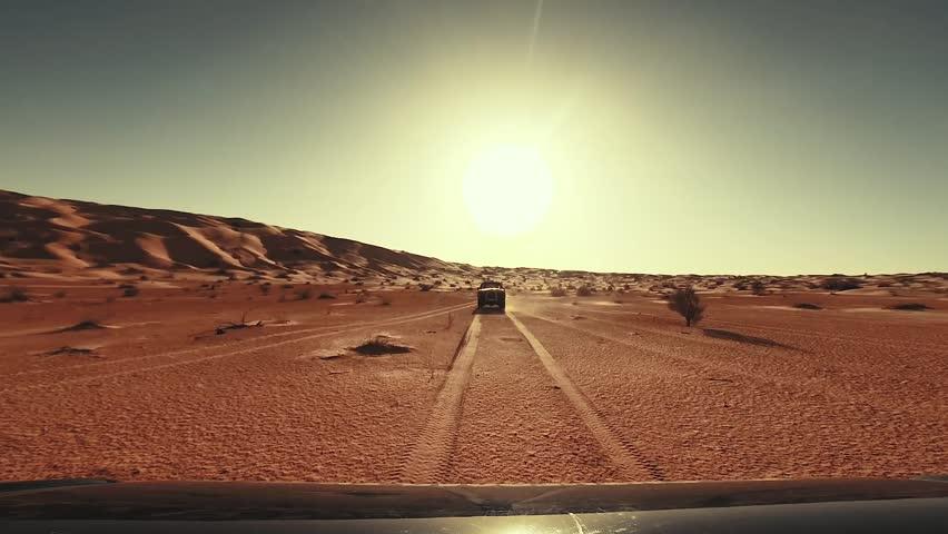 camera car in the sahara desert driver pov