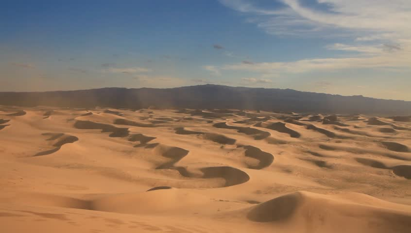 View of the sand dunes of the Sahara desert.