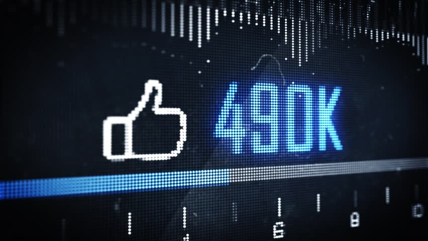 Social Media Thumbs Up Like Button Counter on Pixel Screen Close up