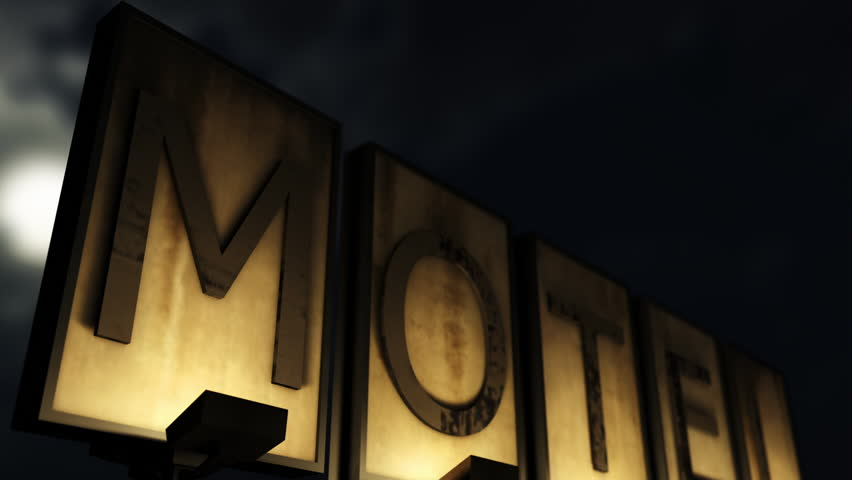 Old Grungy Motel Sign Closeup at Night 3D Animation