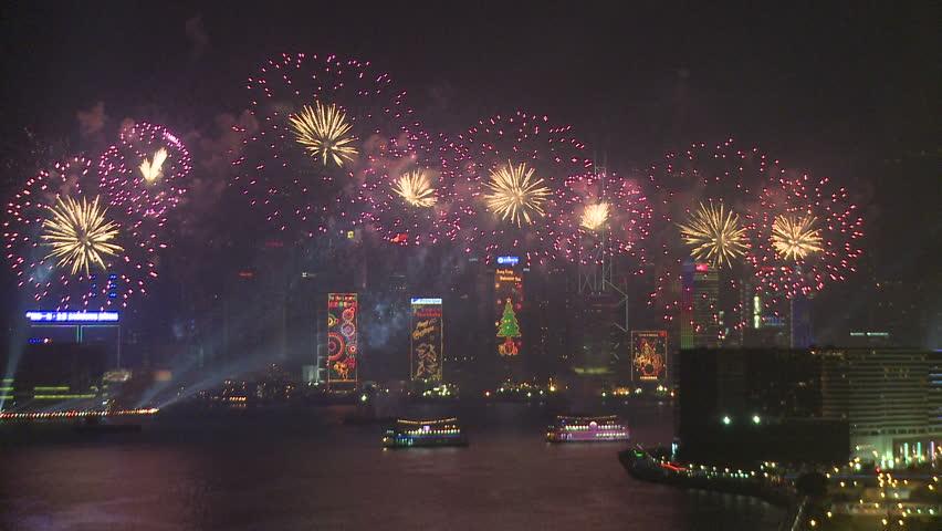 HONG KONG - CIRCA JANUARY 2010: Chinese New Year fireworks display over Hong