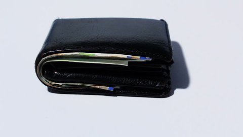 Stack of various of israeli shekel money bills in close black leather wallet - Pan left