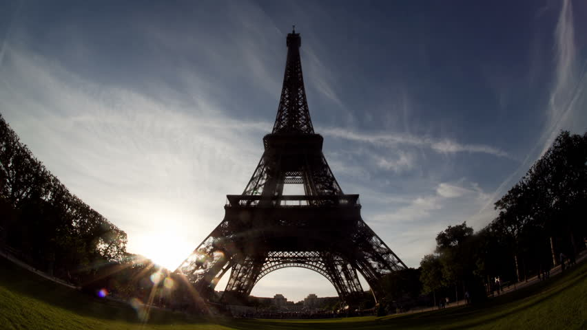 Fish-eye Eiffel Tower Timelapse