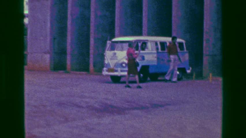 BRASILIA, BRAZIL 1977: Turismo Bradesco hippie volkswagen powder blue travel bus.