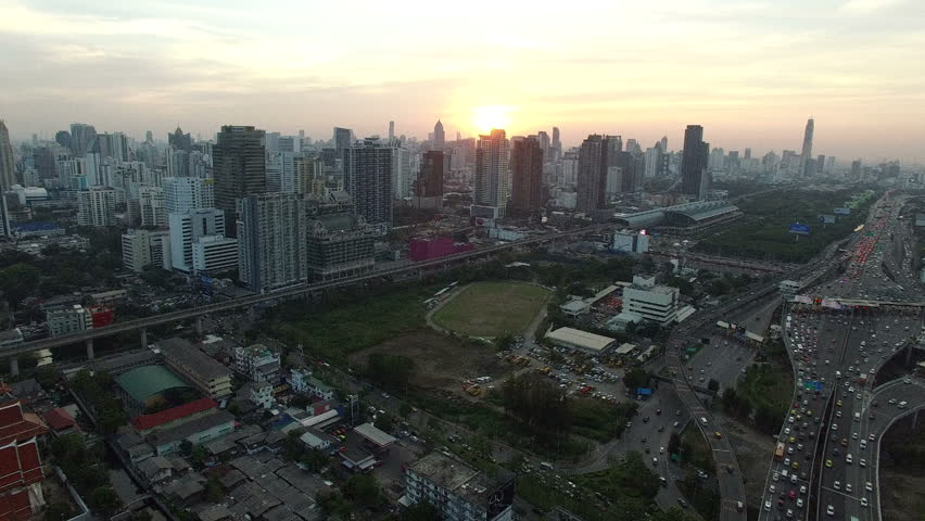 Aerial view of bangkok city urban scene with sun set sky background | Shutterstock HD Video #17605657