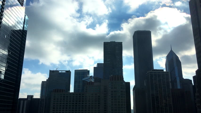 City skyline of buildings in downtown Chicago, silhouettes. #17675287