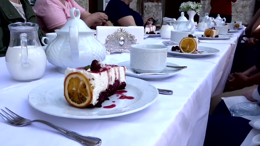 Pan View Of Luxury Restaurant Table Setting Stock Footage Video