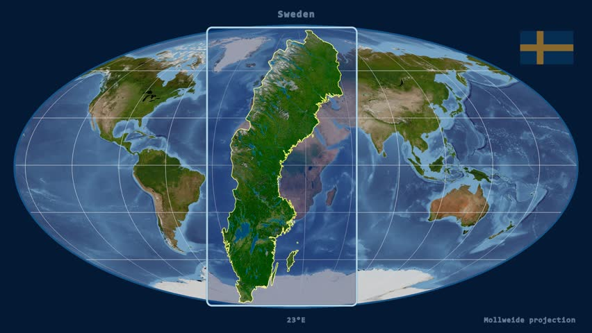 Night To Day Rotating Earth Zoom In On Sweden Outlined - Sweden map satellite