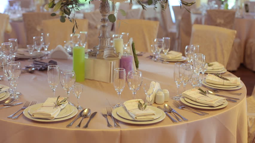 Decorated Table For A Wedding Dinner Stock Footage Video
