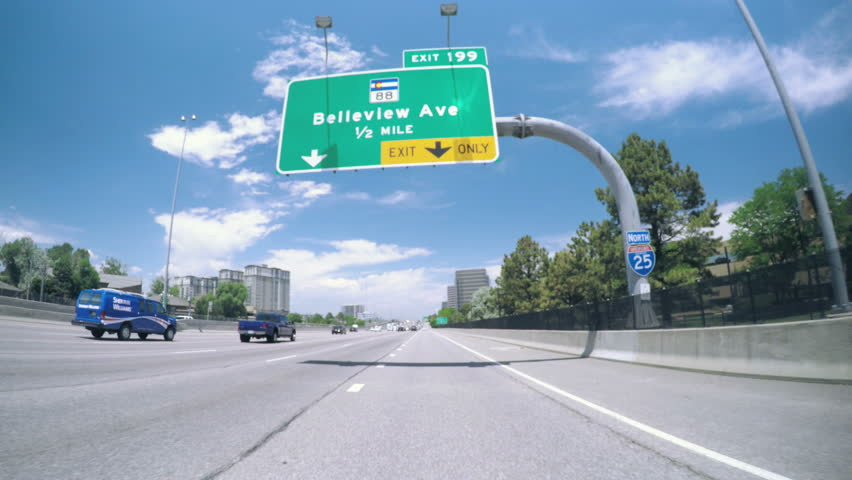 Denver, Colorado, USA-June 29, 2016. Car driving on interstate highway.-POV point of view.