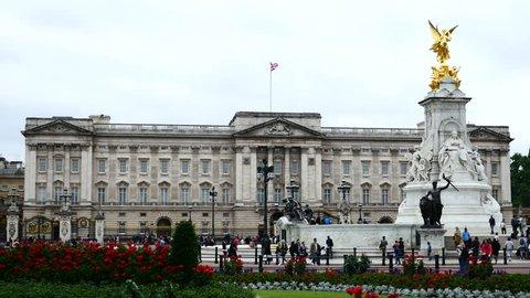 Buckingham Palace from gardens, London, UK. Filmed in June 2016.