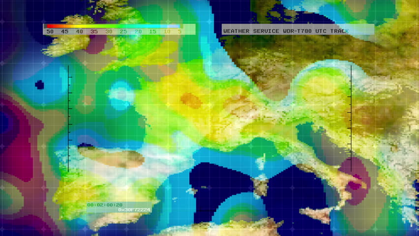 Weather Radar Digital Satellite Map Western US Stock Footage Video - Us map weather radar