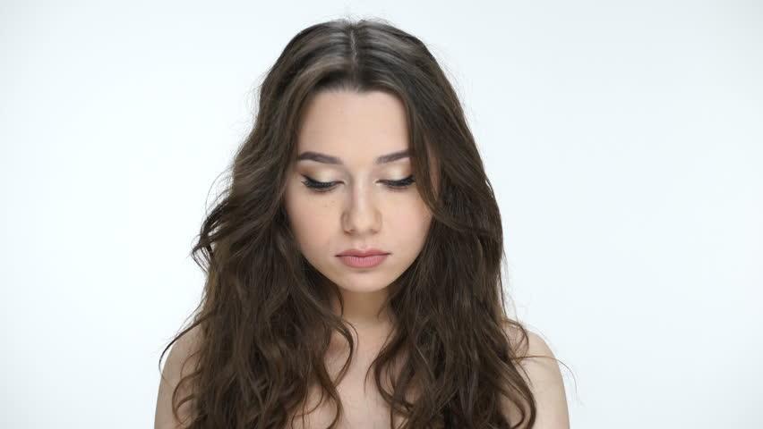 Beautiful angry young girl saying no