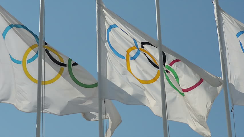 Close Up Olympic flags are the official symbol of the Olympic Games